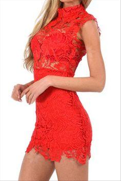 Δαντελένιο μίνι φόρεμα-κόκκινο