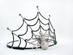 The Black Widow - Black Spiderweb Evil Halloween Queen Crown. $55.00, via Etsy.