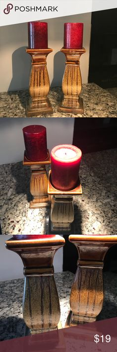 Set Of Two Candle Holders (Candles Included) Brighten Up Any Room In Your Home With These Decorative Pieces!  One Candle Has Been Used But They Can Also Be Replaced With Another Color If Needed To Match The Color Scheme Of Your Home 🏠   Any Questions, Please Ask! Other