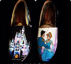 Hand Painted Cinderella Toms  adult size  by DrawingsByBOBA