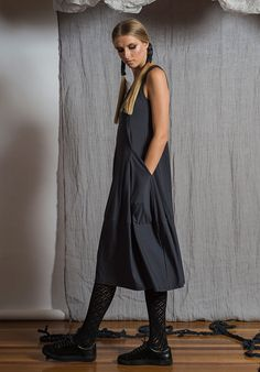 Prima dress sleeveless storm – Australian made bamboo jersey. All Rant Clothing garments are ethically made in Brisbane Australia. Brisbane Australia, Wide Leg Pants, Sustainable Fashion, Bamboo, Crop Tops, Clothing, Accessories, Beauty, Beautiful