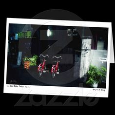 Two Red Bikes, Tokyo, Japan Card from Zazzle.com