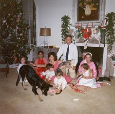 Christmas morning: kids dogs and mommas & daddies.....far right is Lee and Stanislas Radziwill (Jackie's sister and family joined in the fun)..