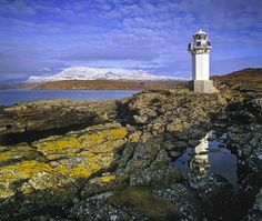 Rhue Lighthouse, Rhue, Ullapool, Scotland, setting, spit, land, Loch Broom, western isles, mountains, Inverpolly Reserve photo