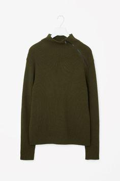 COS image 2 of High-neck zip jumper in Khaki Green