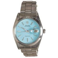 Rolex Stainless Steel Oysterdate Blue Dial Watch   From a unique collection of vintage wrist watches at https://www.1stdibs.com/jewelry/watches/wrist-watches/