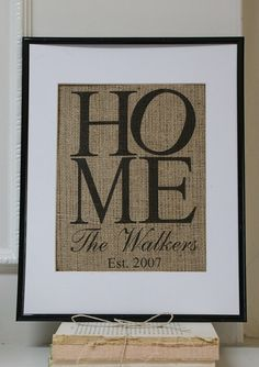 Housewarming Personalized Burlap Artwork - Engagements, Weddings, Anniversaries. Artwork only. on Etsy, $20.00