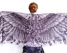 Owl wings scarf bohemian bird feathers shawl Night owl by Shovava