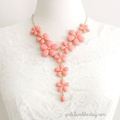 Coral Flower Statement Necklace Bridal Flower by girlslovelike, $25.00