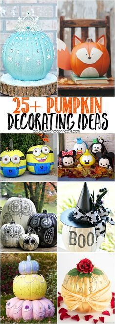 25+ Creative Pumpkin Decorating Ideas - Everything from Disney princess pumpkins, spooky pumpkins and even beautiful home decor!