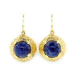Dome Lapis Dangling Earrings, $170, now featured on Fab. Lapis is one of my favorite minerals.