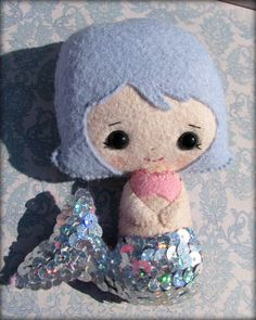 Sequin and felt Little Mermaid doll  Hand stitched by 1SweetStitch