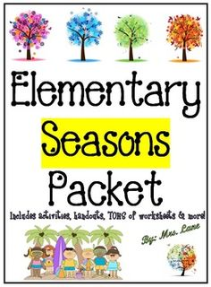 This packet contains TONS of fabulous items to teach and/or enrich your seasons unit. From activities and games, vocabulary and science experiments, handouts and posters, to worksheets and assessments, and MORE! There are SOOOO MANY things to do that you can pretty much just sort through them and pick-and-choose what you want to do based upon the individual needs of your specific class and/or group of students. *Don't let the price scare you!