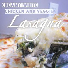 Creamy White Chicken and Veggie Lasagna  It's a keeper! I used fresh spinach, 1.5 pkgs of cream cheese instead of 2, and a small container so sour cream instead of the full amount.  Yummy!