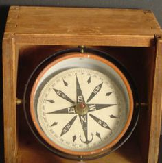 """101: WHALE BOAT COMPASS WITH DOVETAILED CASE, 4X6"""" : Lot 101"""