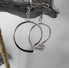 Boucles oreille broche perle polaris grise paillette  /