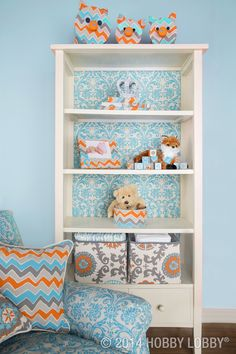 Add designer dimension to a seen-it-before bookcase by backing it with duck cloth! Tip: Make this project less permanent by covering foam board and adhering it to the shelf with adhesive dots.