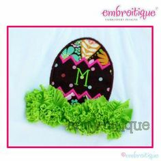 Shabby Sweet Ruched Designs - Easter Egg Monogram with Grass Ruched Shabby Sweet Design on sale now at Embroitique!