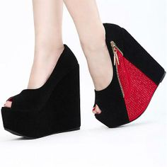 Affordable Round Peep Toe Side Patchwork High Red Suede Wedges