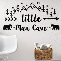 New Little Man Cave Quote Woodland Nursery Wall Decal by Harriet Bee. Home Decor Furniture Woodland Nursery Boy, Bear Nursery, Nursery Decor Boy, Baby Decor, Woodland Room, Nursery Quotes, Nursery Room Ideas, Rustic Nursery Boy, Baby Room Quotes