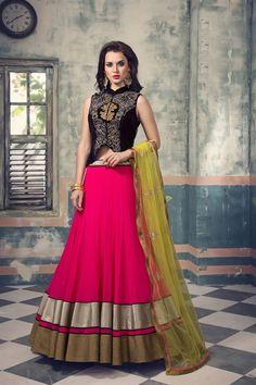 Blue & pink color bollywood style designer lehenga choli