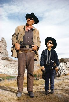 John Wayne on the set of True Grit w/ his son Ethan