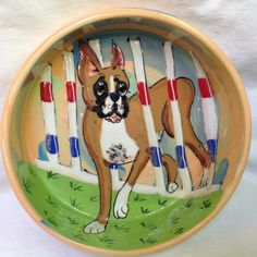 Hand Painted Ceramic Boxer Dog Bowl signed by Debby Carman Faux Paw Productions by FauxPawProductions on Etsy