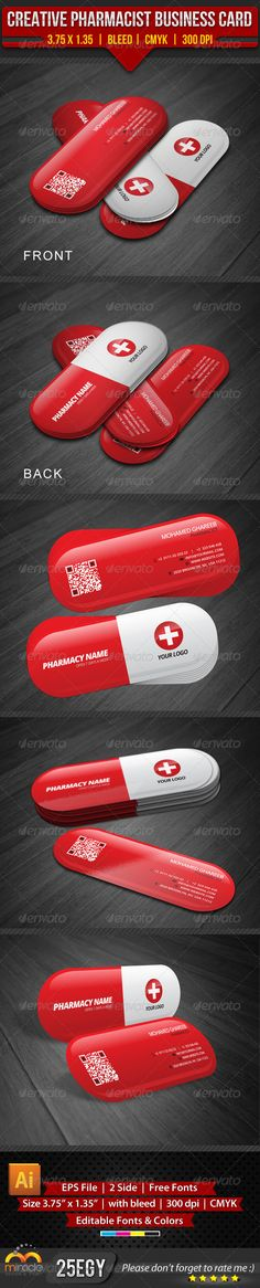 Creative Pharmacist Business CardCreative and clean Pharmacist Business Card in rounded die cut . editable text layers or colors s