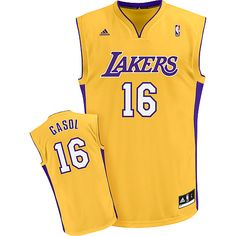 66374ffe3 Adidas NBA Los Angeles Lakers 16 Pau Gasol New Revolution 30 Swingman Home  Yellow Jersey Baloncesto
