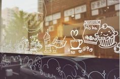 hand drawing on windows with liquid chalk markers Funny Facebook Cover, Facebook Humor, Facebook Timeline Covers, Window Signs, Window Art, Window Writing, Deco Cafe, Window Markers, Liquid Chalk Markers