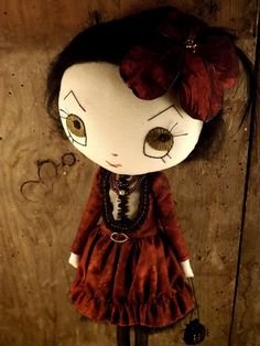 Hibiscus ooak cloth doll handmade. by violettesmecaniques on Etsy, $218.00