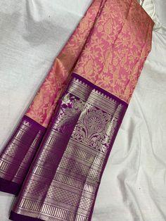 Half Saree Designs, Silk Saree Blouse Designs, Saree Blouse Patterns, Bridal Blouse Designs, Kanjivaram Sarees Silk, Blue Silk Saree, Indian Silk Sarees, White Saree, Pure Silk Sarees