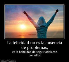 La felicidad no es la ausencia de problemas,  es la habilidad de seguir adelante con ellos