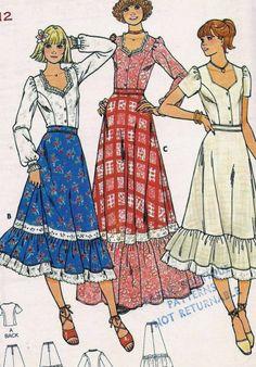 Vintage Boho Ruffle Skirt & Top Sewing Pattern 6085 B34 12 $6.72