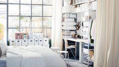 dressing rideaux panières chambre blanche IKEA