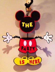 Mickey Mouse Inspired Party Door Sign Birthday Wiggle Arm The Party Is Here Or Custom Saying Cute! on Etsy, $25.00