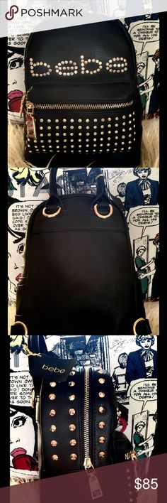 Bebe JETT MINI BACKPACK  Fierce golden bronze studded and bling #Bebebag with small handle or can be worn as a backpack  Front & side pockets. Bold, chunky golden zippers with Bebe logo bebe Bags Backpacks