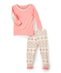 Look at this #zulilyfind! Pink Geometric Elbow Patch Top & Ruffle Pants - Infant #zulilyfinds