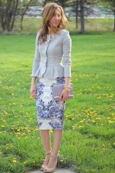 peplum and print skirt