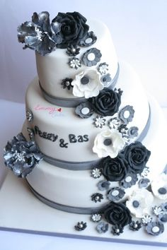 black, grey and white flowers wedding cake By prettygem on CakeCentral.com