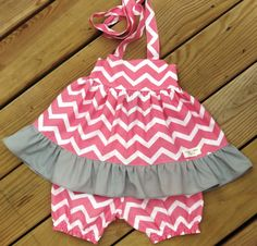 Pink and Gray Shevron top SET with ruffle by SweetWhitePeony