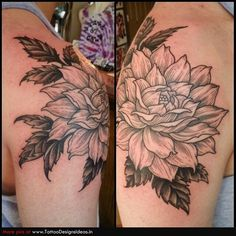 black lines dahlias and garden flowers tattoo on hipalice