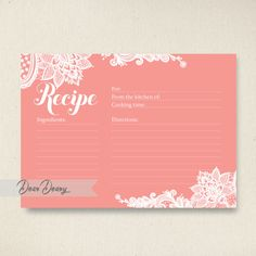 lace printable recipe card bridal shower games in salmon instant download c032 by