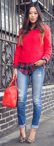 check shirt under red sweater, damaged skinny jeans, leopard pumps