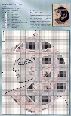 0 point de croix femme egyptienne - cross stitch egyptian lady 2