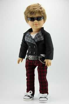 Handmade 18 inch doll clothes Boy black and by DolliciousClothes Boy Doll Clothes, American Doll Clothes, Ag Dolls, Girl Dolls, Aqua Wallpaper, Journey Girls, Hounds Tooth, Decorative Metal, Boys Suits