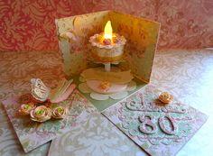 Cricut Birthday Cake Exploding Box - Flower Shoppe, Storybook, Elegant Edges and Floral Embellishment Cartridges.