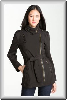 Michael Kors Women's Black Leather Fall Hood Waterproof Short Coat