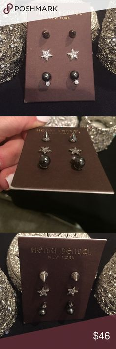 💋Super Cute Gunmetal Earrings💋 💋When I bought these for my daughter I couldn't resist buying a set for me!!! Unfortunately I never wore them and she lets me borrow. Lol. So I hope someone else enjoys them. They are Henri Bendel. Very well made. Prettier in real life. 💋 henri bendel Jewelry Earrings