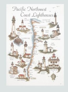 Map of Pacific Northwest Coast Lighthouses. Pacific Northwest Map, Pacific Coast, West Coast, Lighthouse Pictures, Lighthouse Art, Beacon Of Light, Oregon Coast, North West, Places To Go